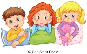 ... Children happy at slumber party illustration