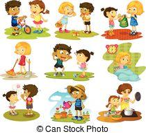 ... Children - Illustration of many children doing chores and.