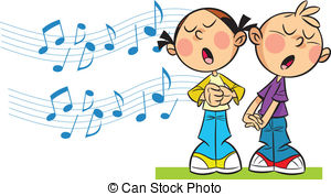 ... children sing - In the illustration cartoon girl and boy... ...