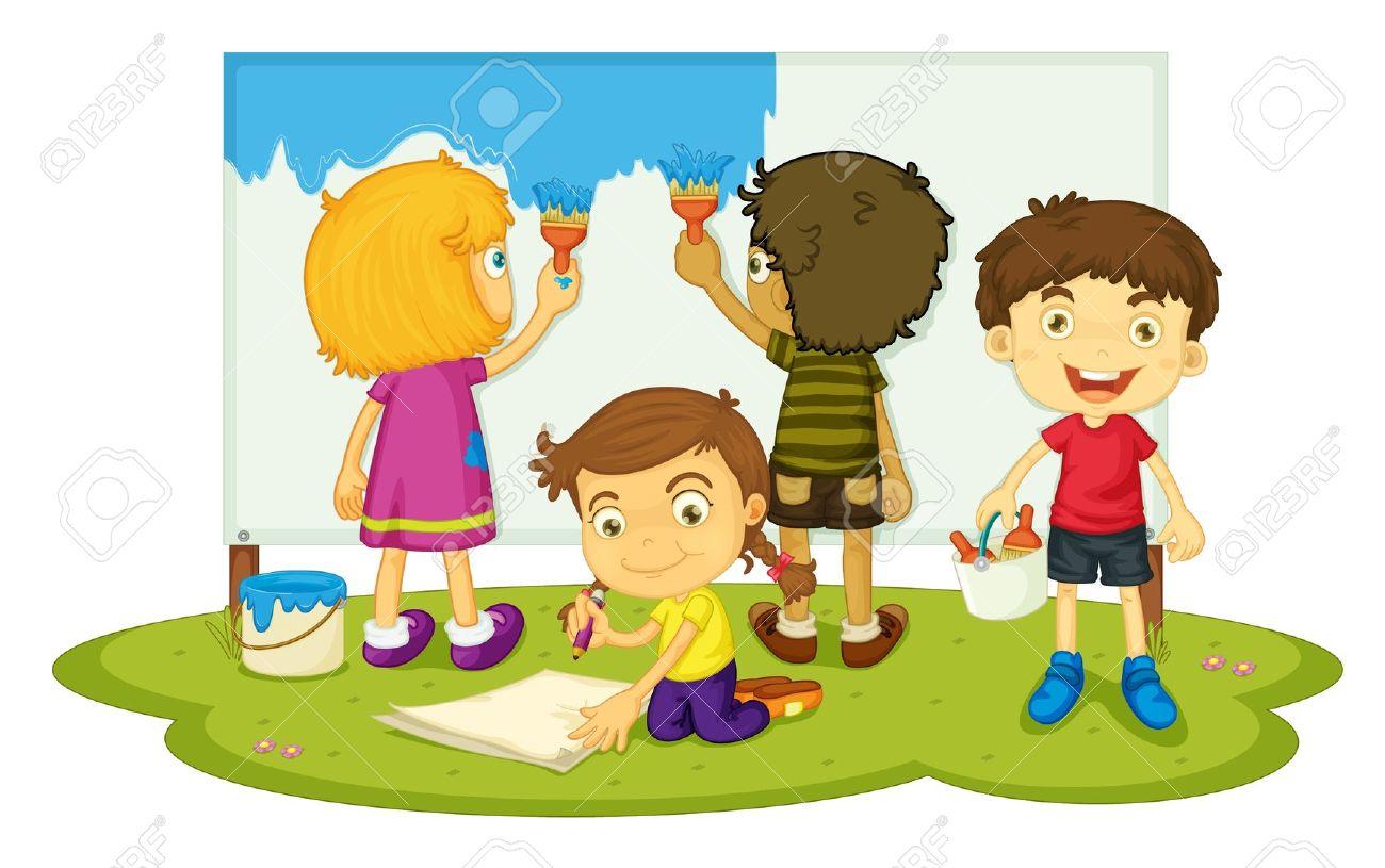 children working clipart