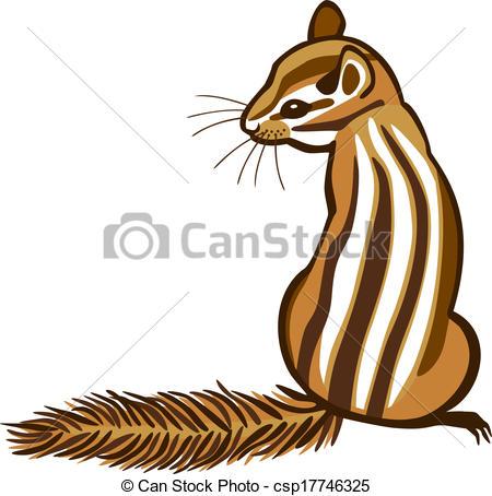 ... Chipmunk - vector illustration of a chipmunk sitting with.