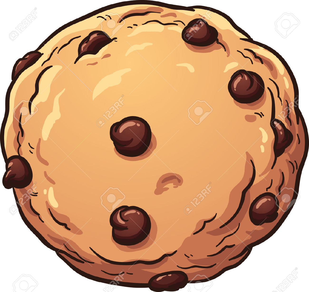 Chocolate chip cookie number one clipart - ClipartFest