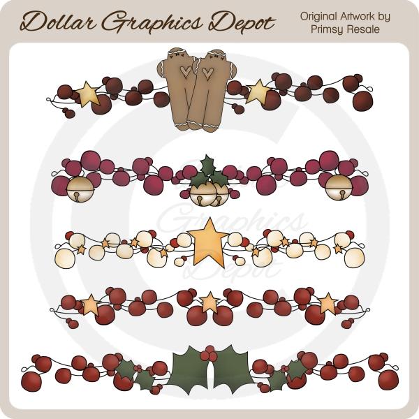 Christmas Berry Borders - Clip Art