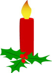 Christmas Candle And Holly Clip Art