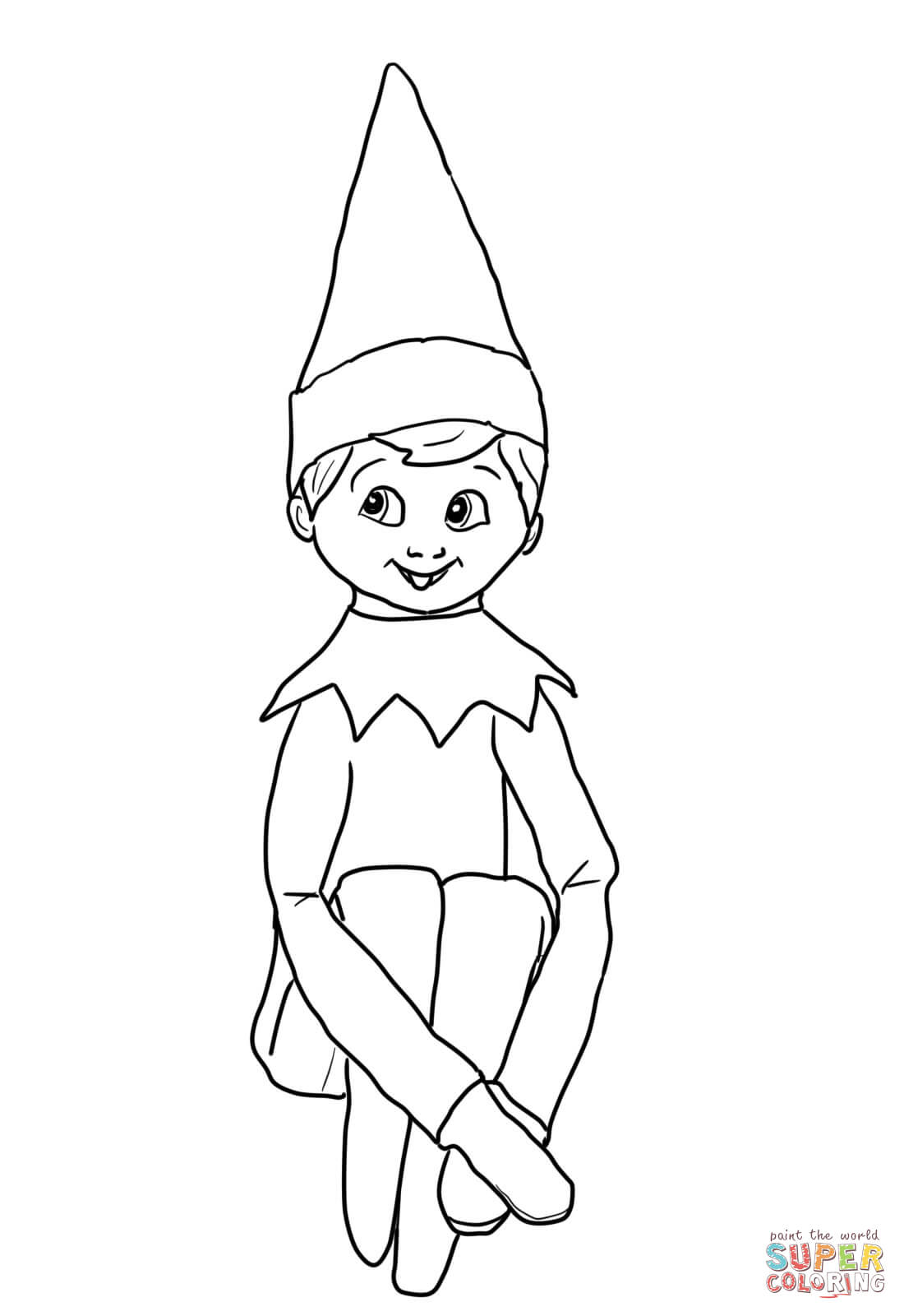 Christmas Elf On Shelf Coloring Online