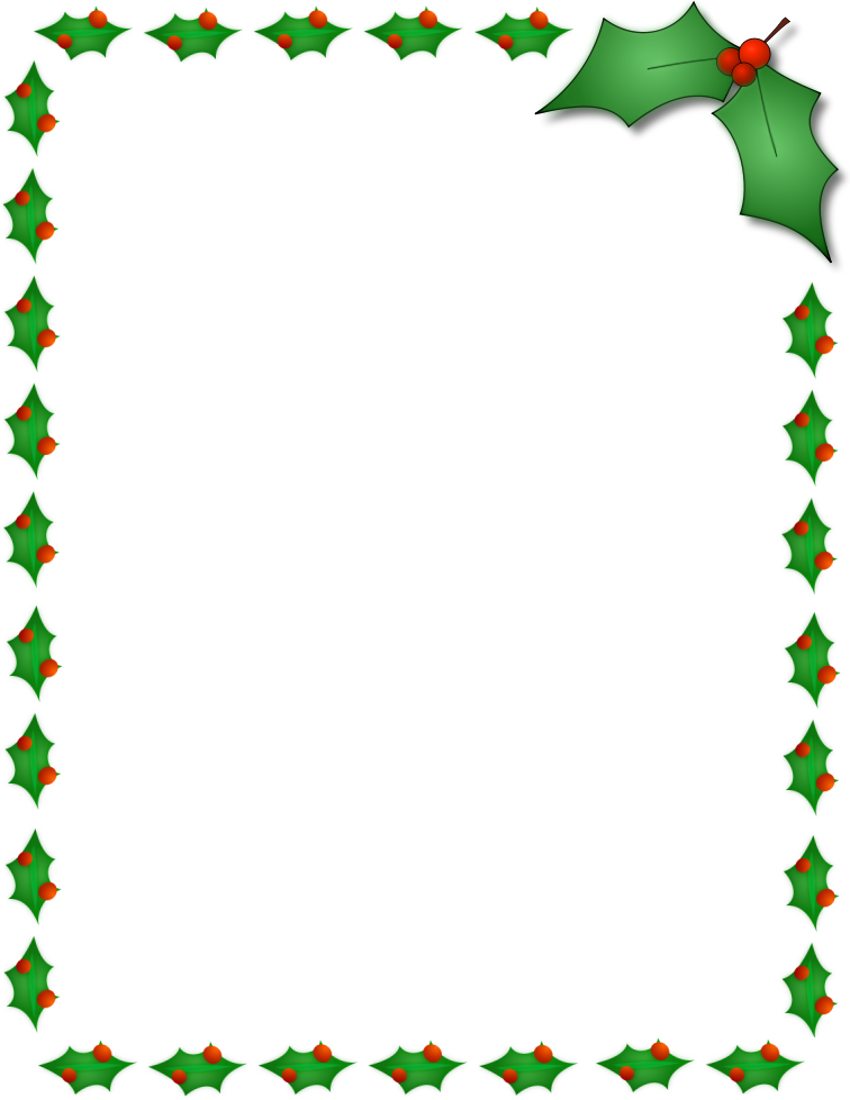 Christmas Holly Border Page Page Frames Holiday Christmas Holly