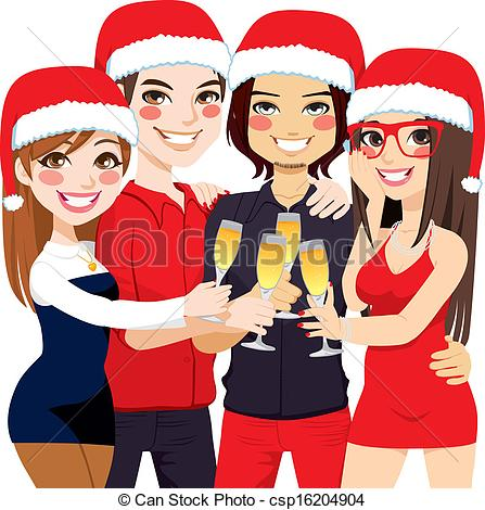 Christmas Party Friends Toast Csp16204904