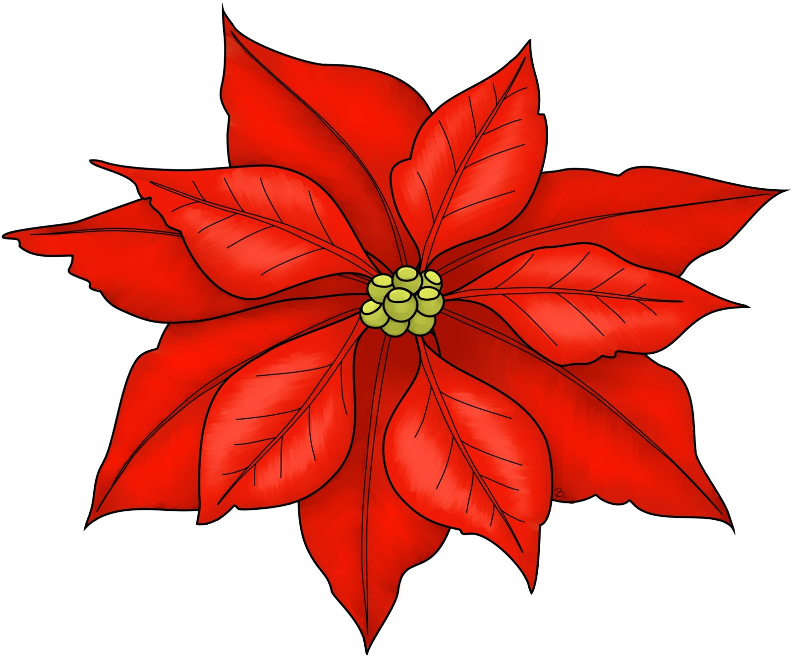 Christmas poinsettias clip art