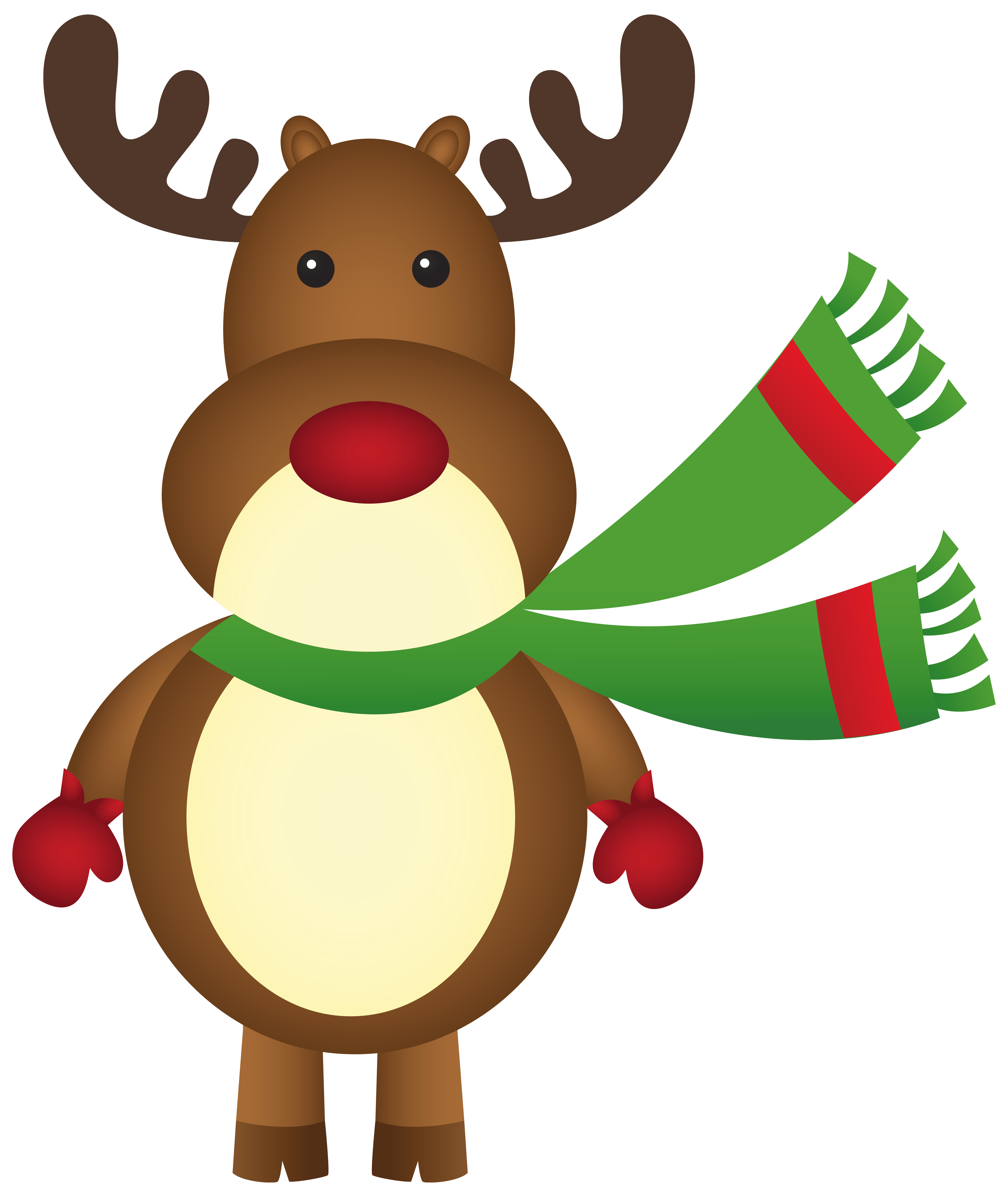 Christmas Rudolph with Scarf PNG Clipart Image