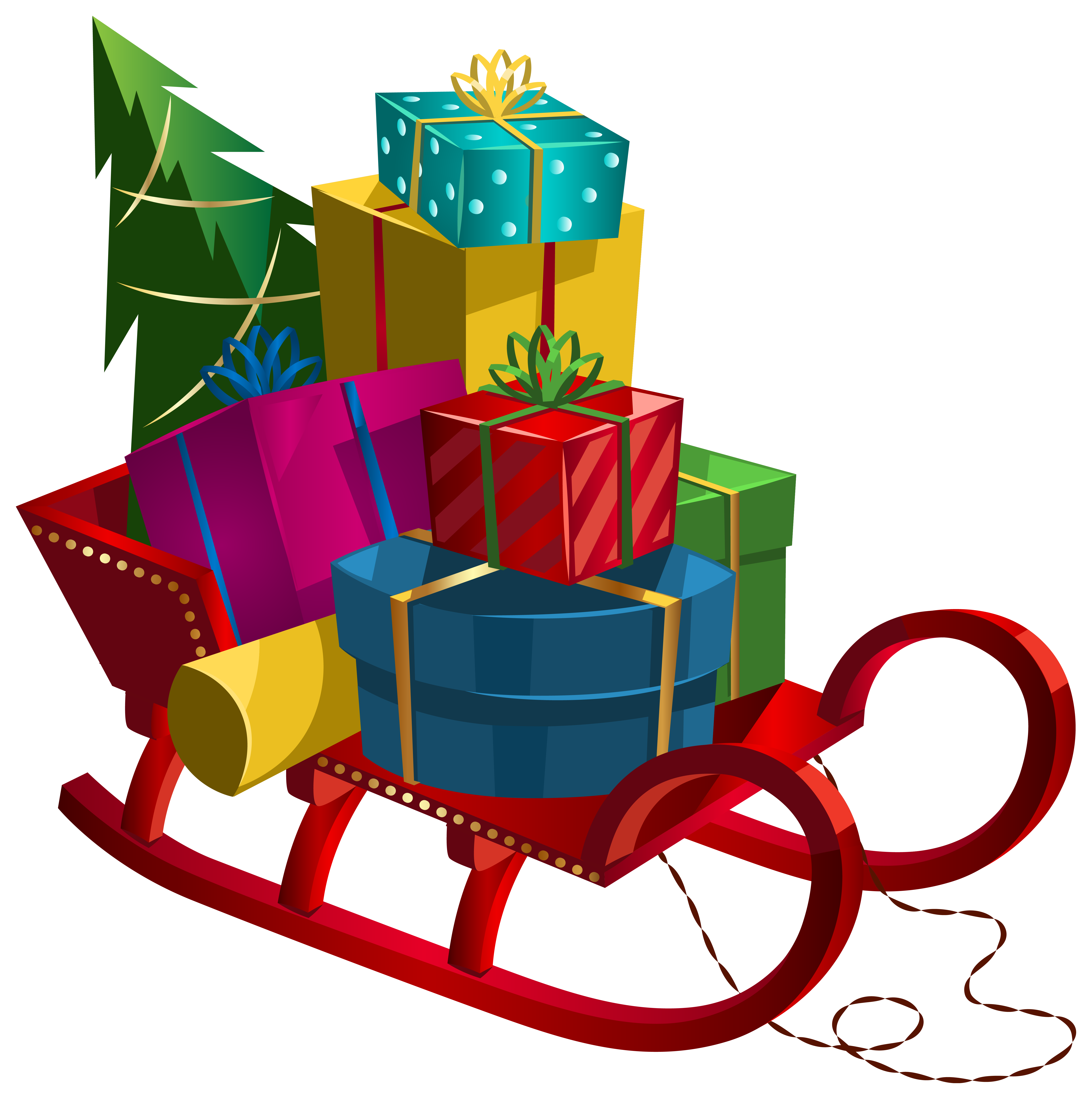 ... Christmas Sleigh with Gifts PNG Clip-Art Image ...