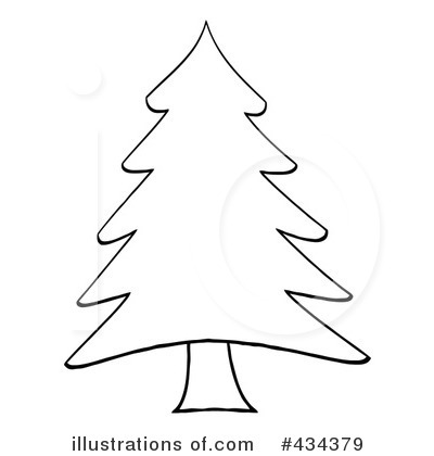 Christmas Tree Clip Art Black And White (01)