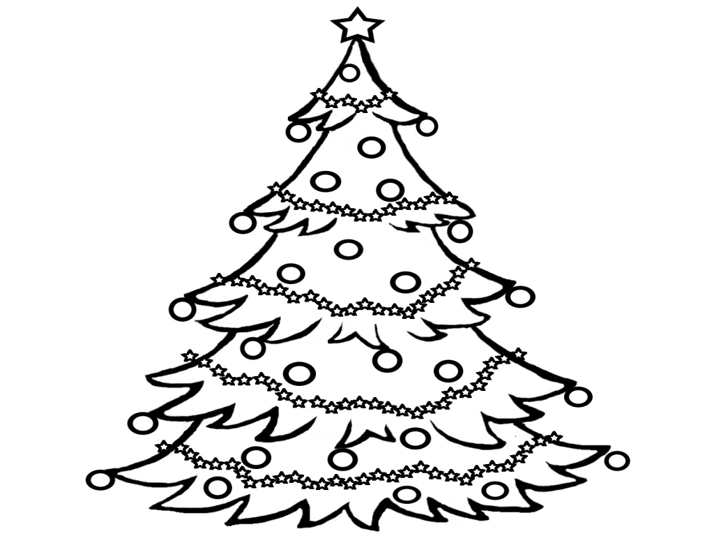 Christmas Tree clipart black and white #13