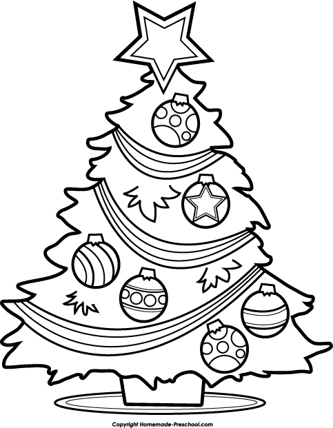 Tree Black And White Free Christmas Tree Clipart 2