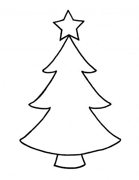 Christmas Tree Star Outline Outline Of Christmas Tree With