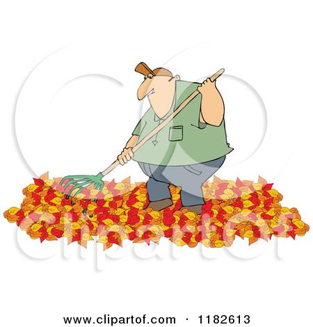 Chubby Caucasian Man Raking Autumn Leaves by Dennis Cox