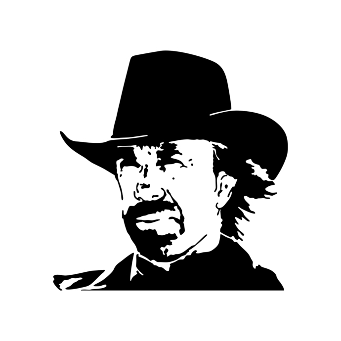 Chuck Norris Texas Cowboy graphics design SVG Vector Art Clipart instant
