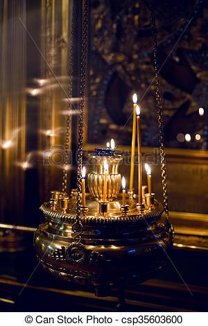 burning Church candles - csp35603600
