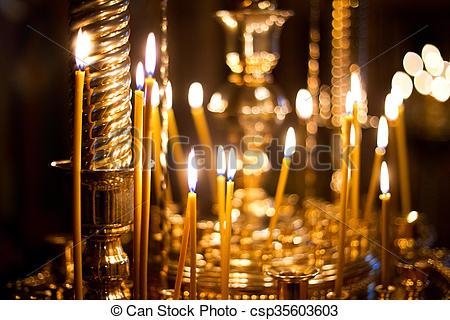 burning Church candles - csp35603603