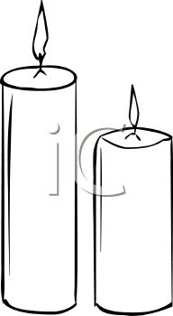 Picture of 2 Burning Votive Candles In Black and White In a Vector Clip Art  Illustration - Royalty Free Clipart Illustration