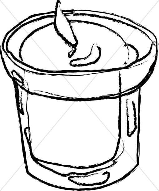 Small Candle in Outline