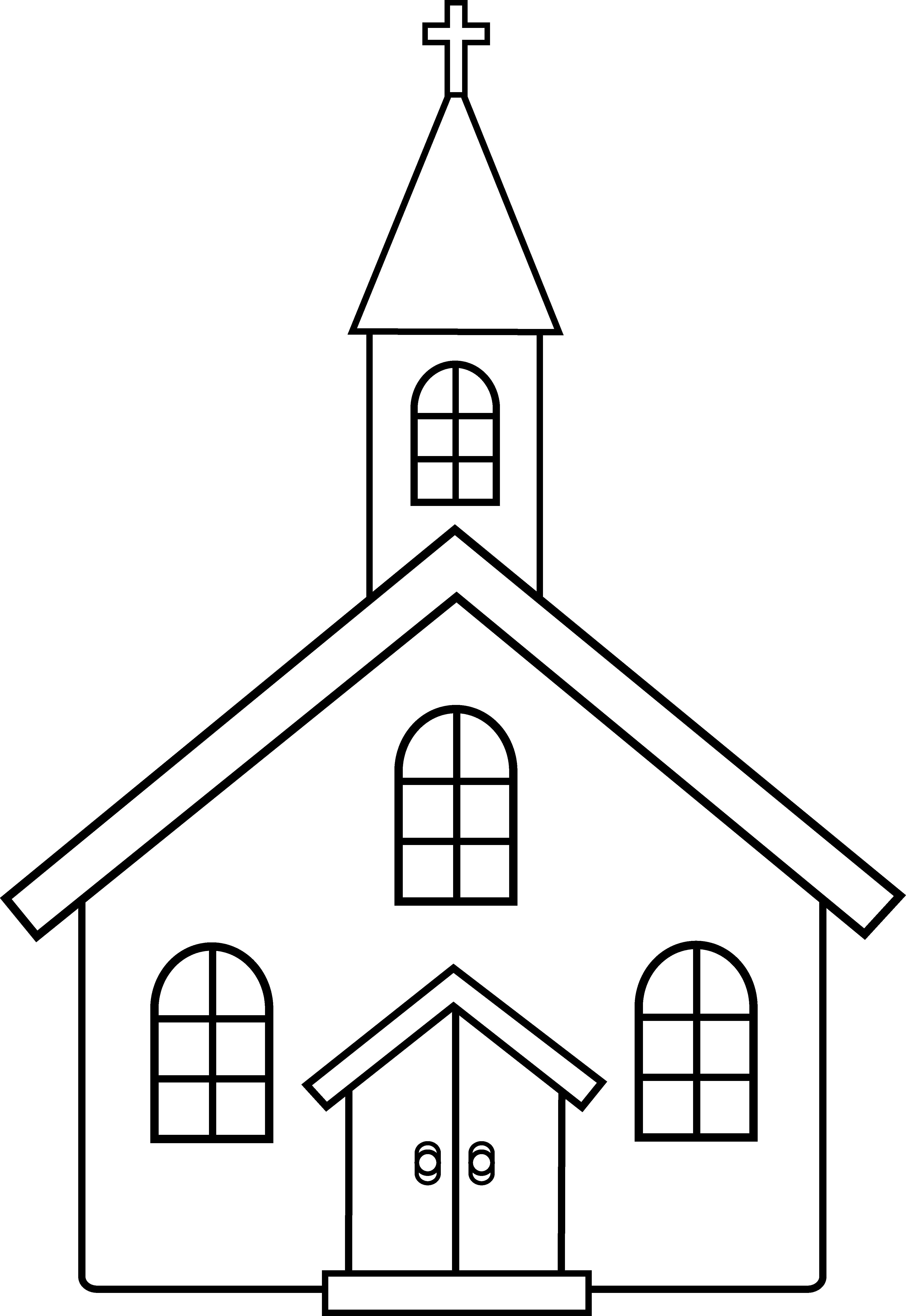 Church clipart black and white