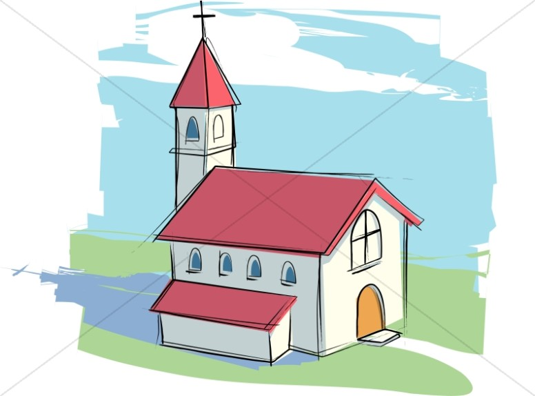 Country Church with Rural Landscape