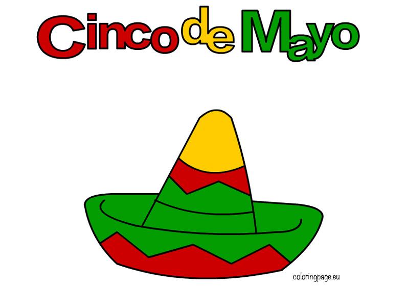Cinco de mayo clip art coloring page