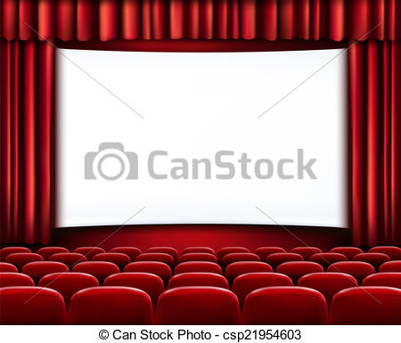 Rows Of Red Cinema Or Theater Seats In Front Of White Blank Scre Vector