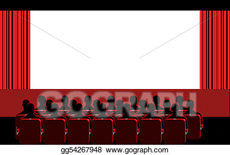 Stock Illustration - People in the cinema. Clipart Drawing gg54267948