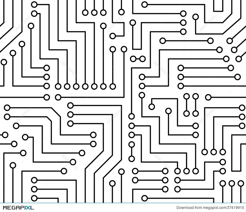 Black and white printed circuit board illustration megapixl clipart