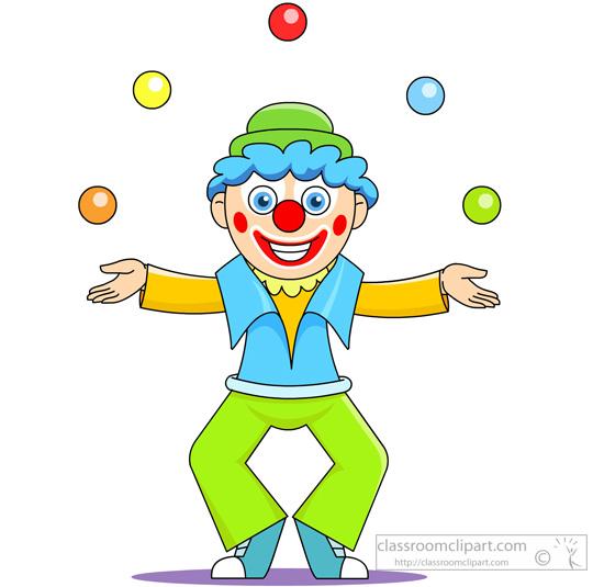 Circus Joker Clown Juggling Balls In Air Classroom Clipart