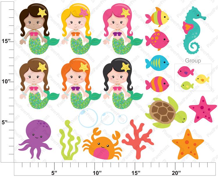 Clip art and Mermaids .