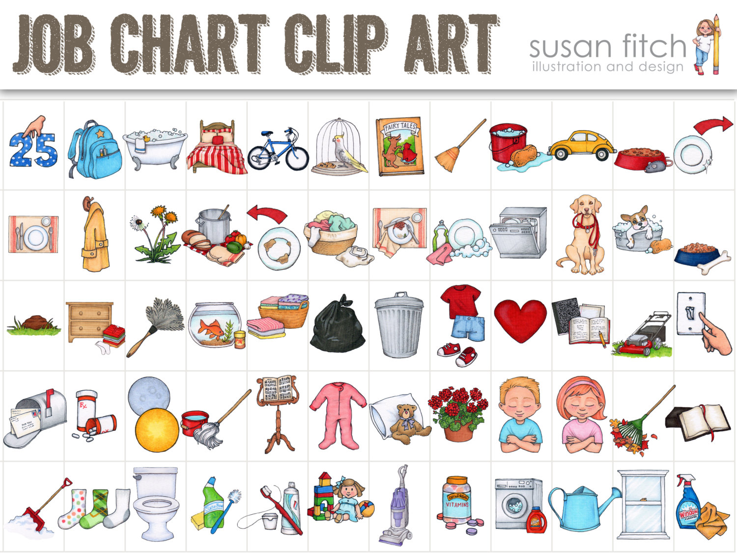 Clip art and Toddler chore .
