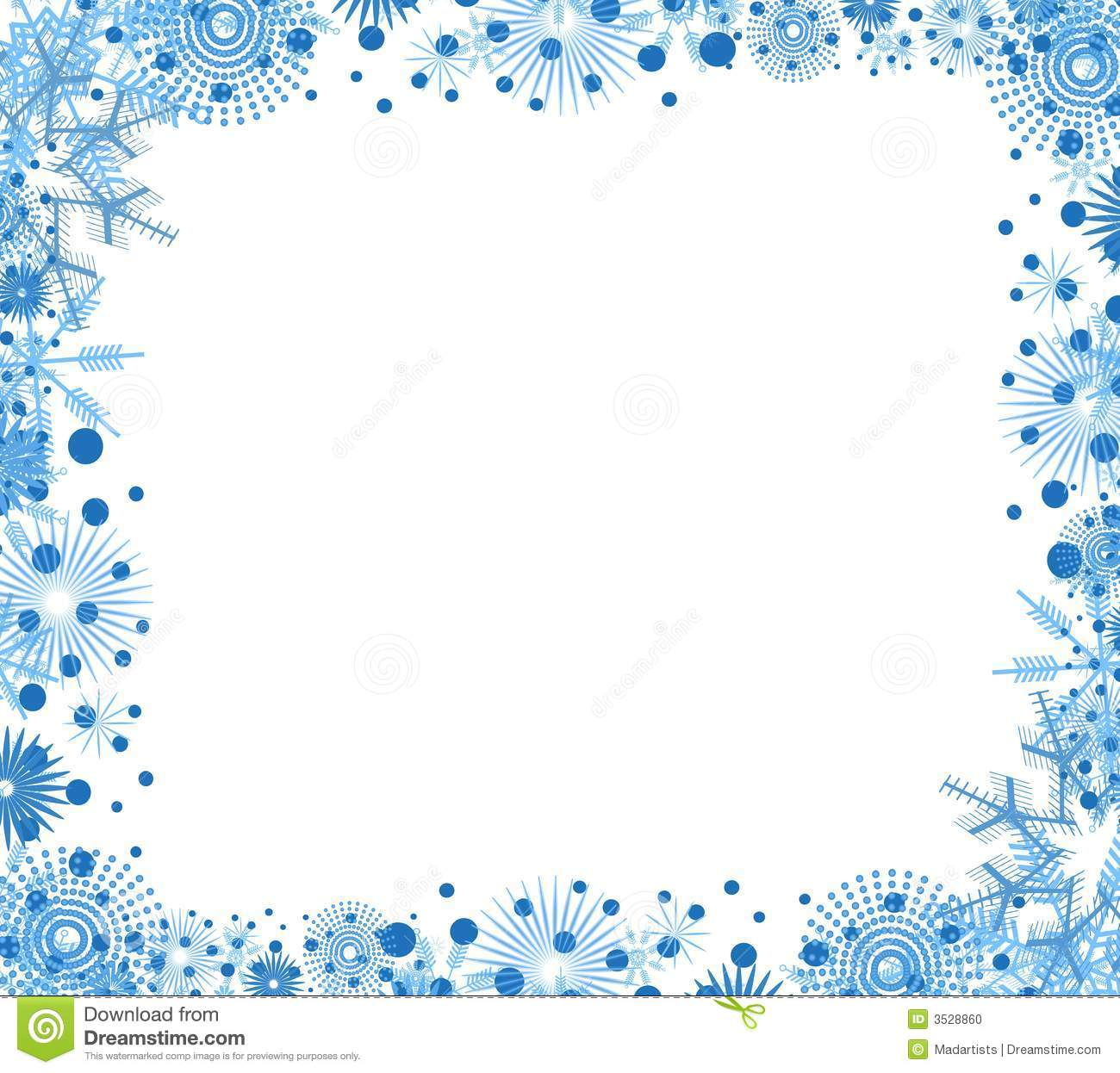 Clip Art Background Border Featuring Decorative Blue Snowflakes