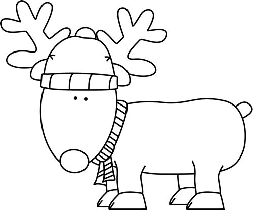 clip art black and white | Black and White Christmas Reindeer Clip Art - black and