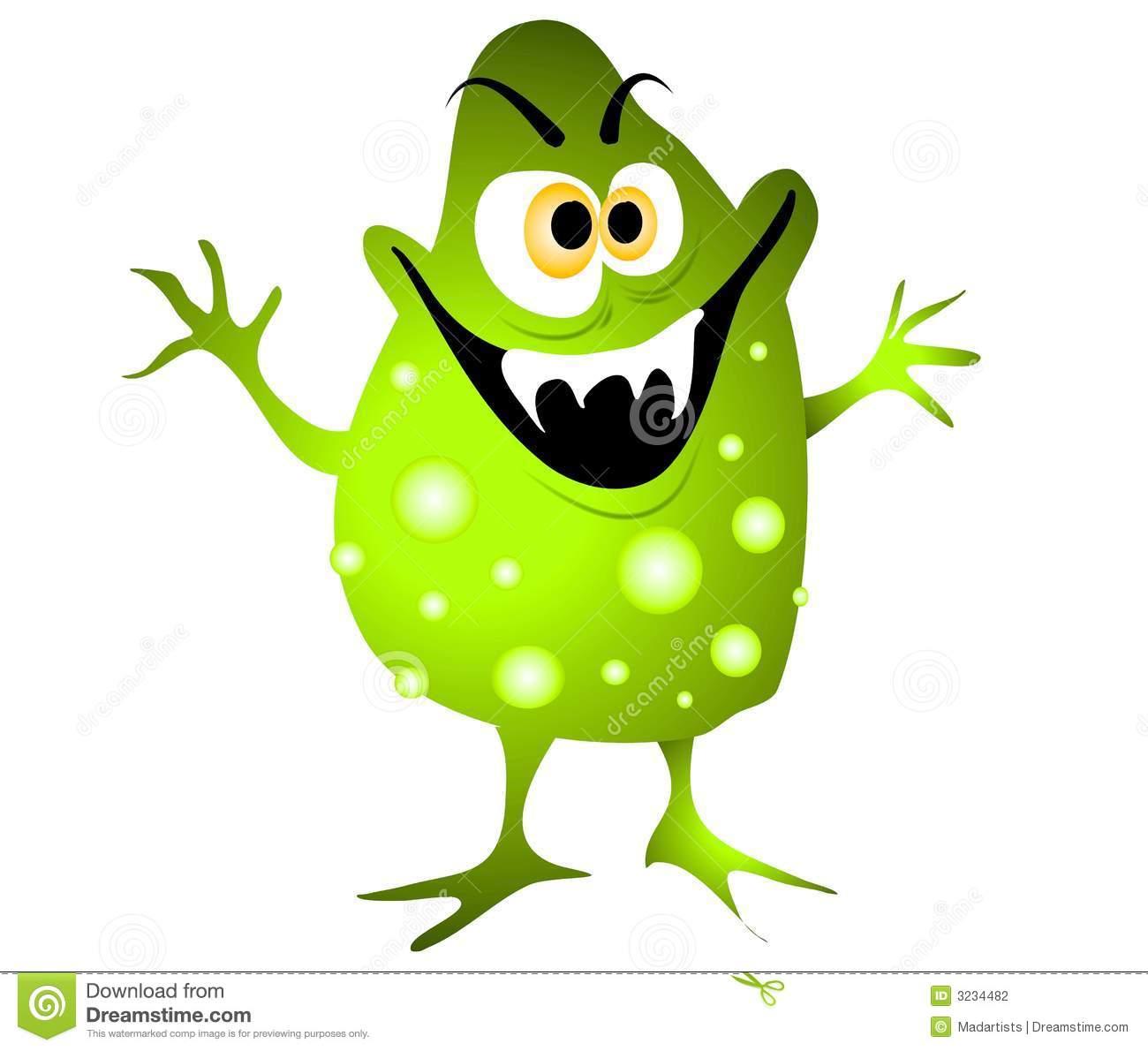Clip Art Cartoon Illustration Of A Nasty Looking Germ Virus Or