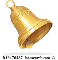 Clip Art. Golden Christmas bell on white background