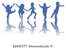 Clip Art. Happy children silhouettes