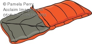 Clip Art Illustration of a Quilted Sleeping Bag