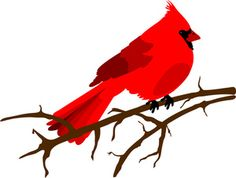 Clip art illustration of a red Cardinal bird sitting on a branch with no leaves.