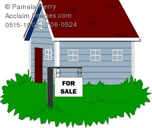 Clip Art Image of a House for Sale With a Sign in the Yard