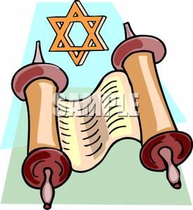 Clip Art Image: The Torah and the Star of David