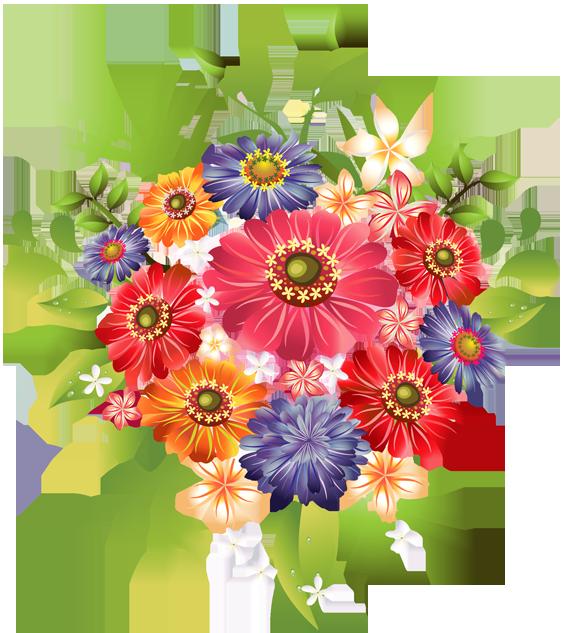 Clip Art Of A Bouquet Of Summer Flowers - Dixie Allan