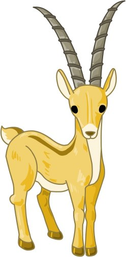 Clip Art Of A Brown African Antelope Or Gazelle Or Oryx