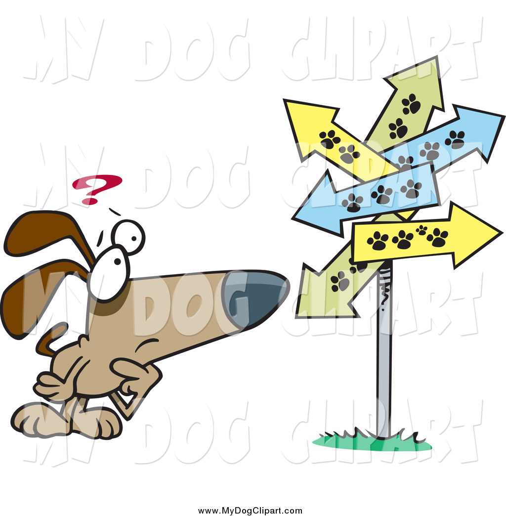 Clip Art of a Cartoon Lost Dog .