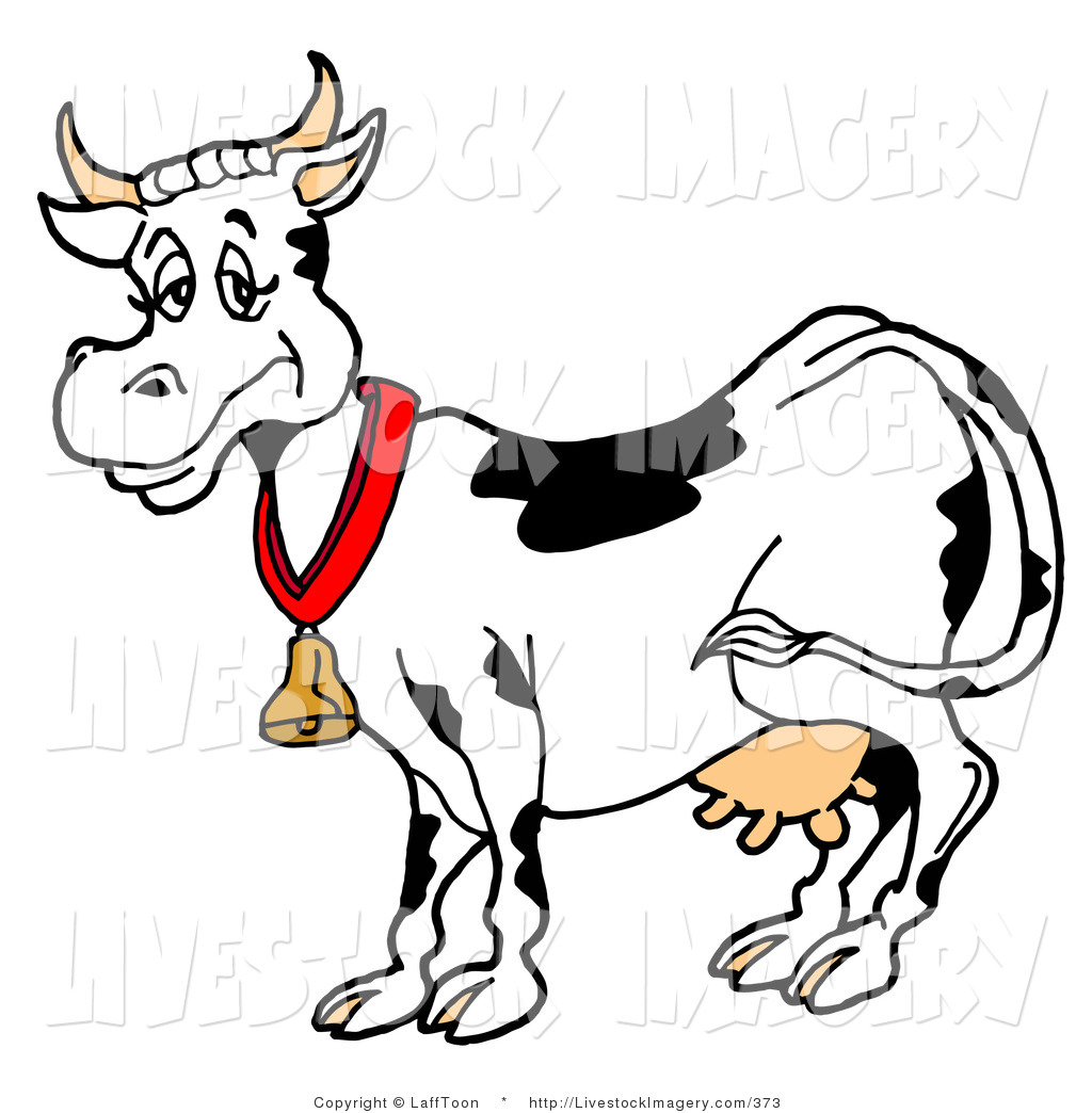 Clip Art of a Happy Black and White Dairy Cow Wearing a Gold Bell Around Its