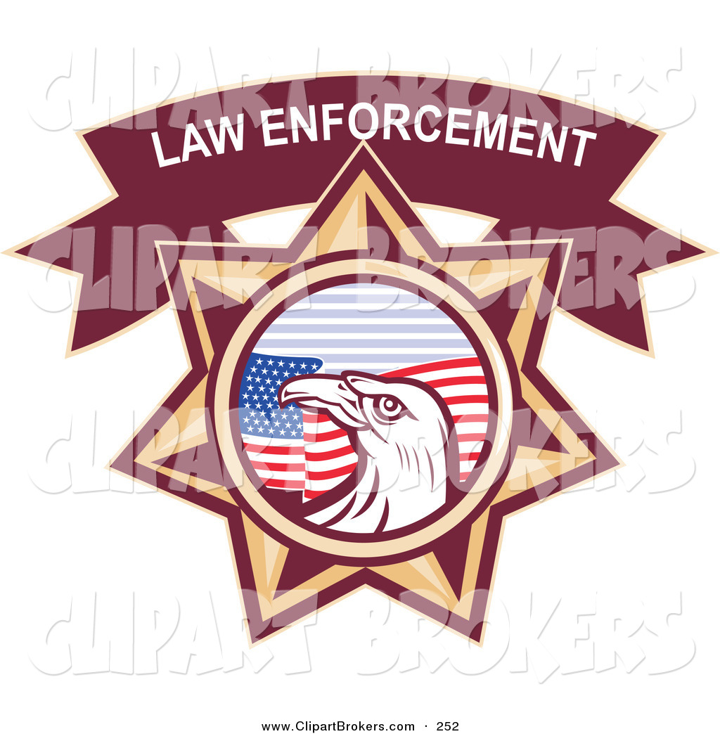 Clip Art Of A Law Enforcement Bald Eagle And American Flag Star On