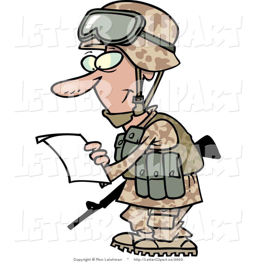 Clip Art Of A Marine Soldier  - Marine Clipart