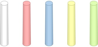 Clip Art Of Five Sticks Of Chalk Colored White Red Blue Yellow And