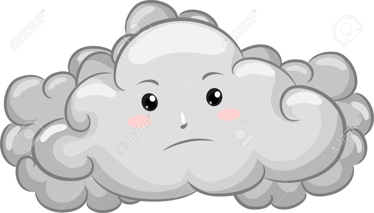 Clip Art of Overcast Day. -Gloomy-Dark-Cloud-Mascot- .